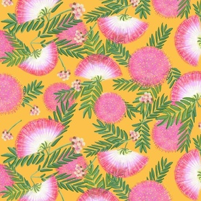 Pink Mimosa Scattered Floral on Goldenrod Lg Scale