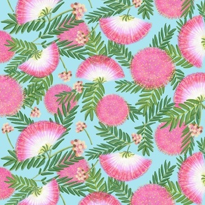 Pink Mimosa Scattered Floral on Aqua Lg Scale