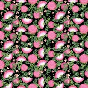 Pink Mimosa Scattered Floral on Black Med Scale