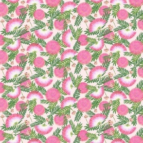 Pink Mimosa Scattered Floral on Soft Pink Medium Scale