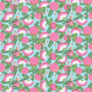 Pink Mimosa Scattered Floral on Aqua Medium Scale