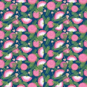 Pink Mimosa Scattered Floral on Navy Medium Scale