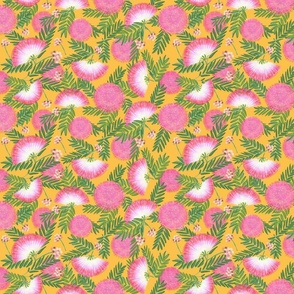 Pink Mimosa Scattered Floral on Goldenrod Medium Scale