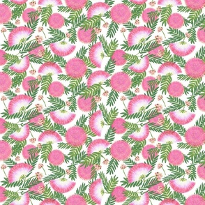 Pink Mimosa Scattered Floral on White Medium Scale