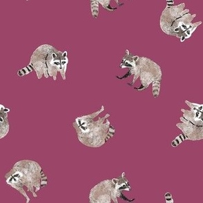 Small Watercolor Raccoons on Purple