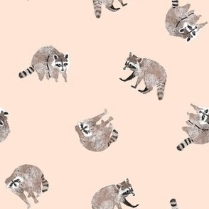 Small Watercolor Raccoons on Neutral Beige