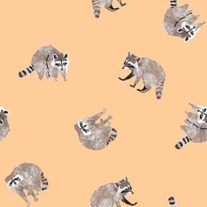 Small Watercolor Raccoons on Yellow