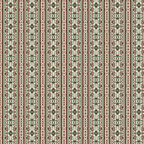 Groovy Hippie Bohemian Ornate Funky Symmetrical Red and Green Chrismtas Stripe Pattern