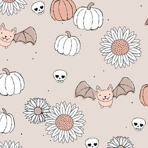Sunflowers and pumpkins sweet halloween vintage style bats and skulls garden fall seventies orange on baby beige sand moody coral