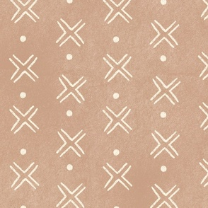Mud Cloth Cross Dots - light brown and white