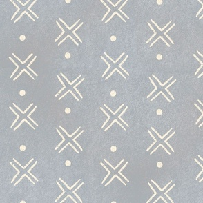 Mud Cloth Cross Dots - grey and white