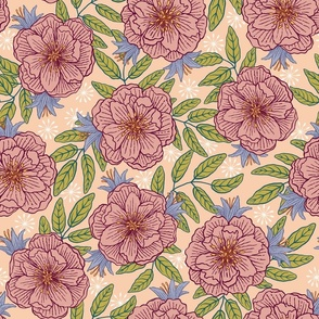 Medium-Tea Roses and Bluebells