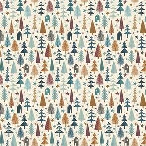 Fir Trees - Mini - Teal, Brown