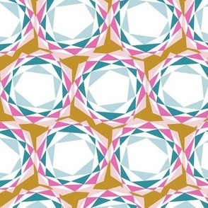 Tissue Paper Suns (Mustard) || geometric flower abstract triangles gold teal turquoise pink