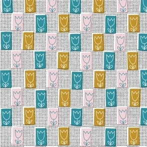 Window Box (Retro) || feedsack tulip flowers floral check window screen distressed texture grid graph paper vintage style midcentury modern mustard gold turquoise teal lagoon cotton candy