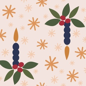 Day 1 - Christmas Candle with Holly and Stars: Large Scale for home decor and soft furnishings