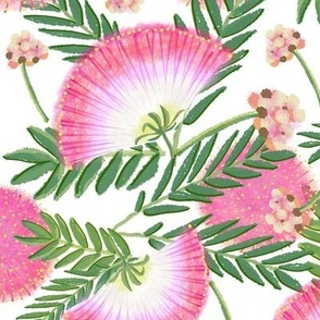 Pink Mimosa Scattered Floral on White lg scale