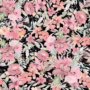 wonderful botanical flowers coral and black small