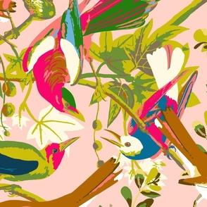 wonderful bird life bright and pink