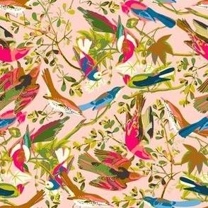 wonderful bird life bright and pink small