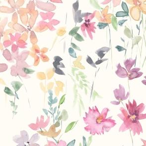 fields of flowers botanical on cream