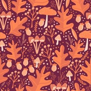 Fall Leaves Acorns Mushrooms on Burgundy