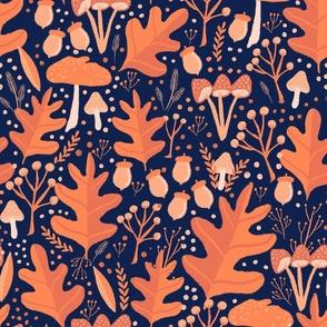 Fall Leaves Acorns Mushrooms on Dark Blue