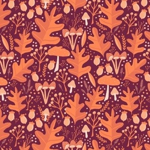 Small Autumn Leaves Mushrooms Acorns on Burgundy