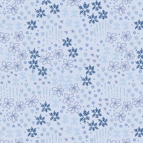 Small Ditsy Snow Flakes in Light Blue Nordic Holidays
