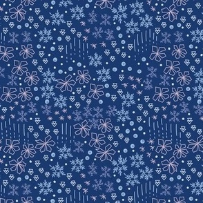 Small Ditsy Winter Snow Flakes in Dark Blue