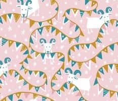 Joyful Munchy Goats on Cotton Candy Pink
