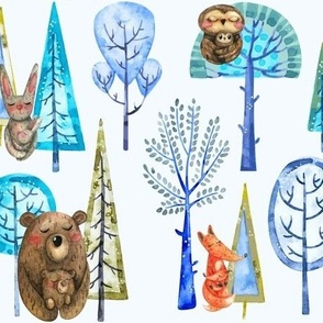 Winter Forest Animals Large