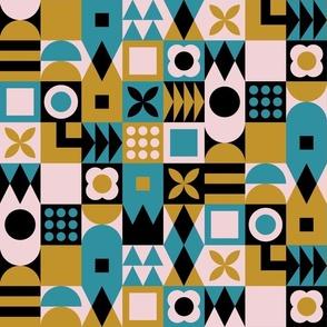 Patchwork geometric joy mustard, lagoon teal, cotton candy pink Wallpaper