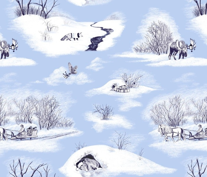 Animals Bearing Christmas Gifts Toile Blue