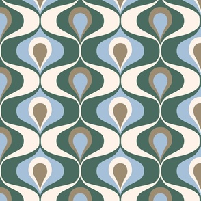 Ogee_large_retro_70s_pine_green_mushroom_brown_sky_blue_wallpaper