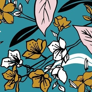 Meadow - Botanical Floral Teal Large Scale