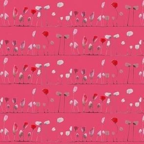 watercolor poppies stripe coral
