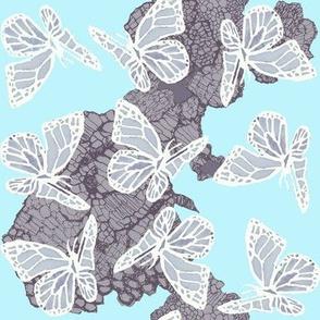 butterflies on lace blue  vertical chevron large
