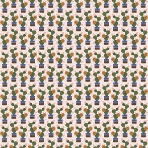 100 Pattern Project  - Cactus in a pot - cream:  jumbo scale for wallpaper, dining linen, bed linen and soft furnishings