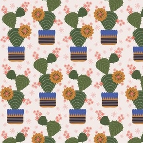 100 Pattern Project  - Cactus in a pot - cream: medium scale for home décor, kitchen linen, wall hangings, kids apparel