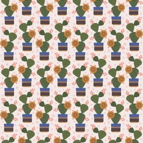 100 Pattern Project - Cactus in a pot - cream: small scale for crafts, Christmas gifts, kids apparel, soft furnishings.