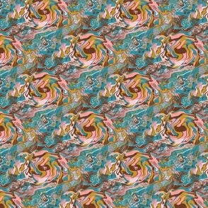 abstract marble swirl lagoon mustard cotton candy, small scale, teal green blue yellow gold pink coral brown