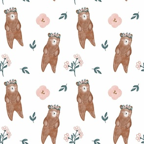 Woodland bear with flower crown LARGE