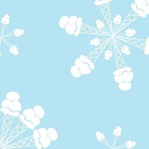Vanilla Ice Cream Cone Snowflakes on Sky Blue