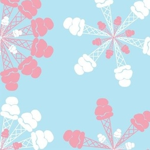 Strawberry and Vanilla Ice Cream Cone Snowflakes on Sky Blue