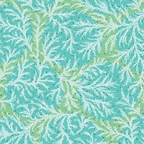 Big Dot Candy Coral - Green Wave