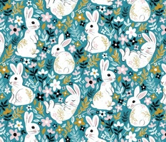 White Chalk Bunny Floral on Teal - large