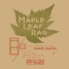 "maple leaf rag - original music cover page 12"" panel, antique"