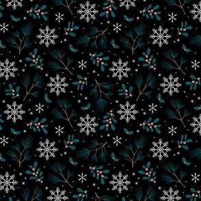 Sweet boho Christmas garden botanical elements mistletoe and pine needles snowflake night teal burnt orange on black SMALL