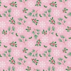 Sweet boho Christmas garden botanical elements mistletoe and pine needles snowflake night apple green red on pink SMALL
